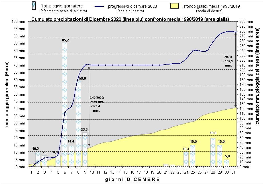grafico piogge dicembre 2020