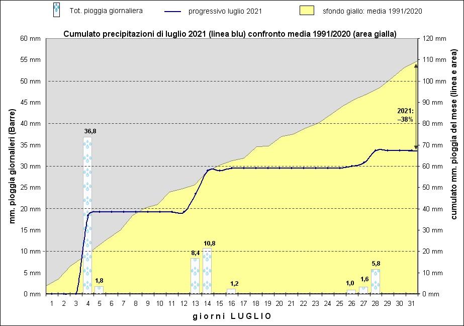 grafico piogge luglio 2021